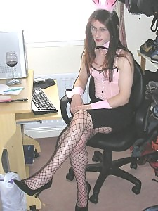 Kirsty dressed as a sexy bunny girl and waiting to get fucked
