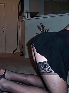 Gorgeous stockings cover this crossdressers legs